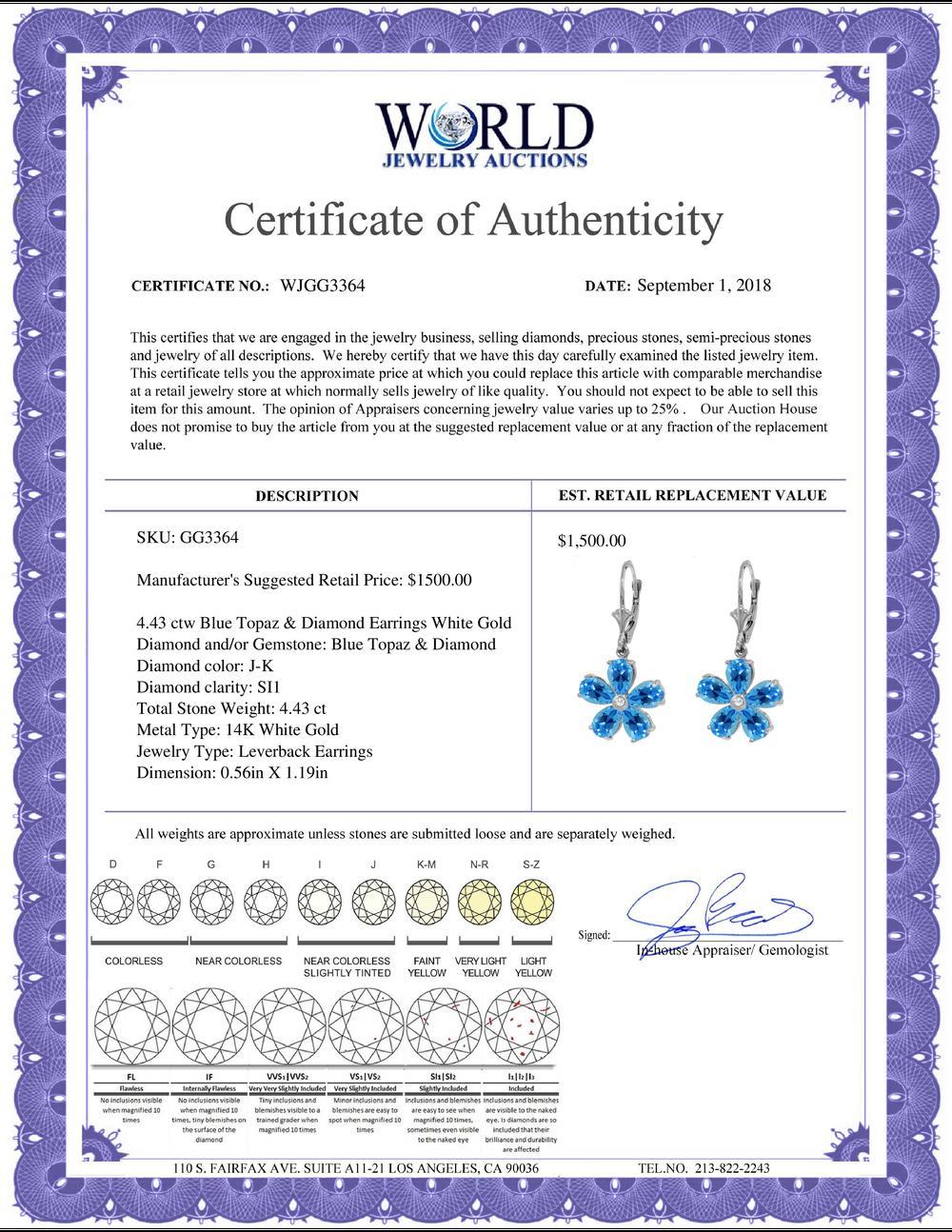 Genuine 4.43 ctw Blue Topaz & Diamond Earrings Jewelry 14KT White Gold - REF-49Z8N