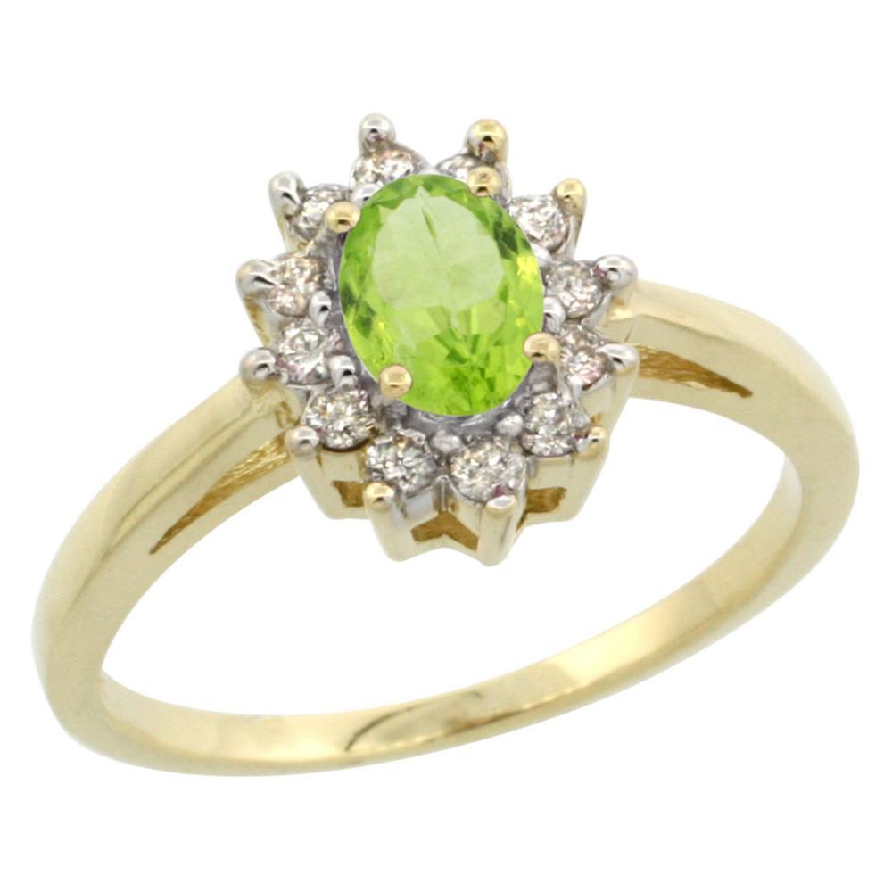 Natural 0.67 ctw Peridot & Diamond Engagement Ring 14K Yellow Gold - REF-48A6V