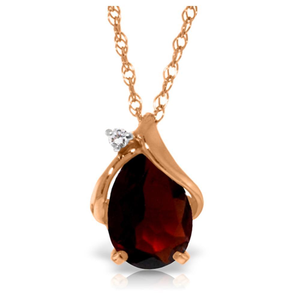 Genuine 2.03 ctw Garnet & Diamond Necklace Jewelry 14KT Rose Gold - REF-30A5K