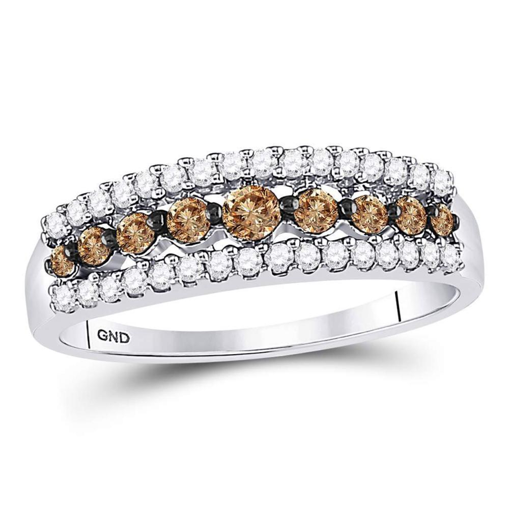 0.50 CTW Cognac-brown Color Diamond Ring 10KT White Gold - REF-22W4K