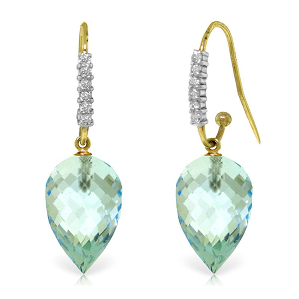 Genuine 22.68 ctw Blue Topaz & Diamond Earrings Jewelry 14KT Yellow Gold - REF-68X9M