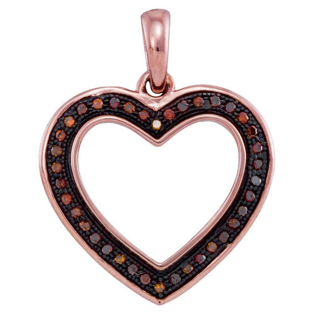 0.10 CTW Red Color Diamond Heart Love Pendant 10KT Rose Gold - REF-14K9W