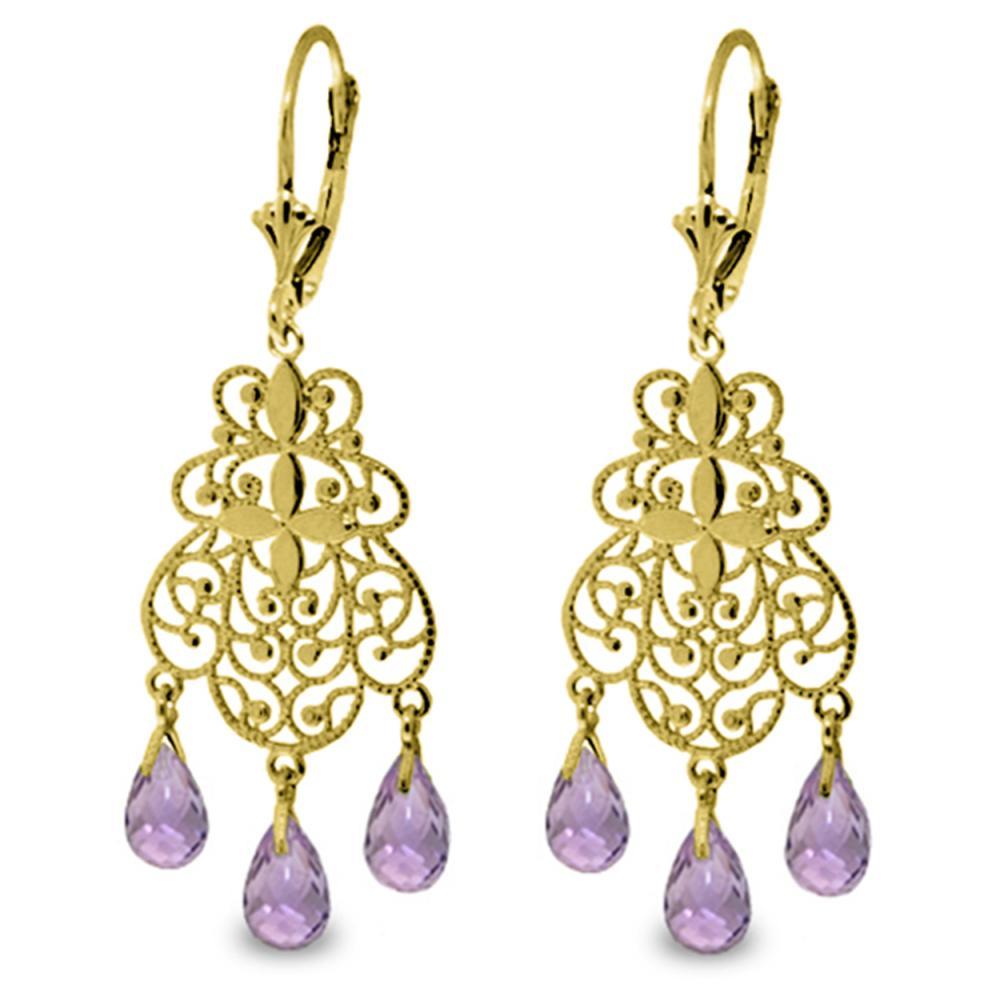 Genuine 3.75 ctw Amethyst Earrings Jewelry 14KT Yellow Gold - REF-58A3K