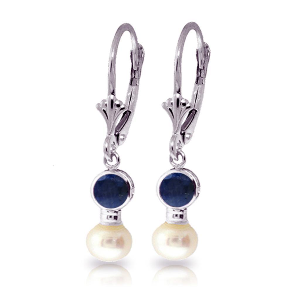 Genuine 5.2 ctw Sapphire & Pearl Earrings Jewelry 14KT White Gold - REF-39W8Y