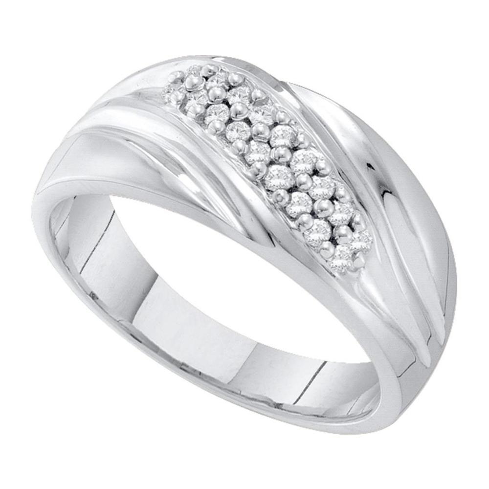 0.25 CTW Mens Pave-set Diamond Diagonal Double Row Ring 10KT White Gold - REF-26F9N