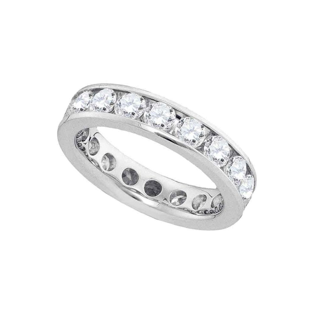 3.01 CTW Diamond Eternity Wedding Ring 14KT White Gold - REF-314N9F