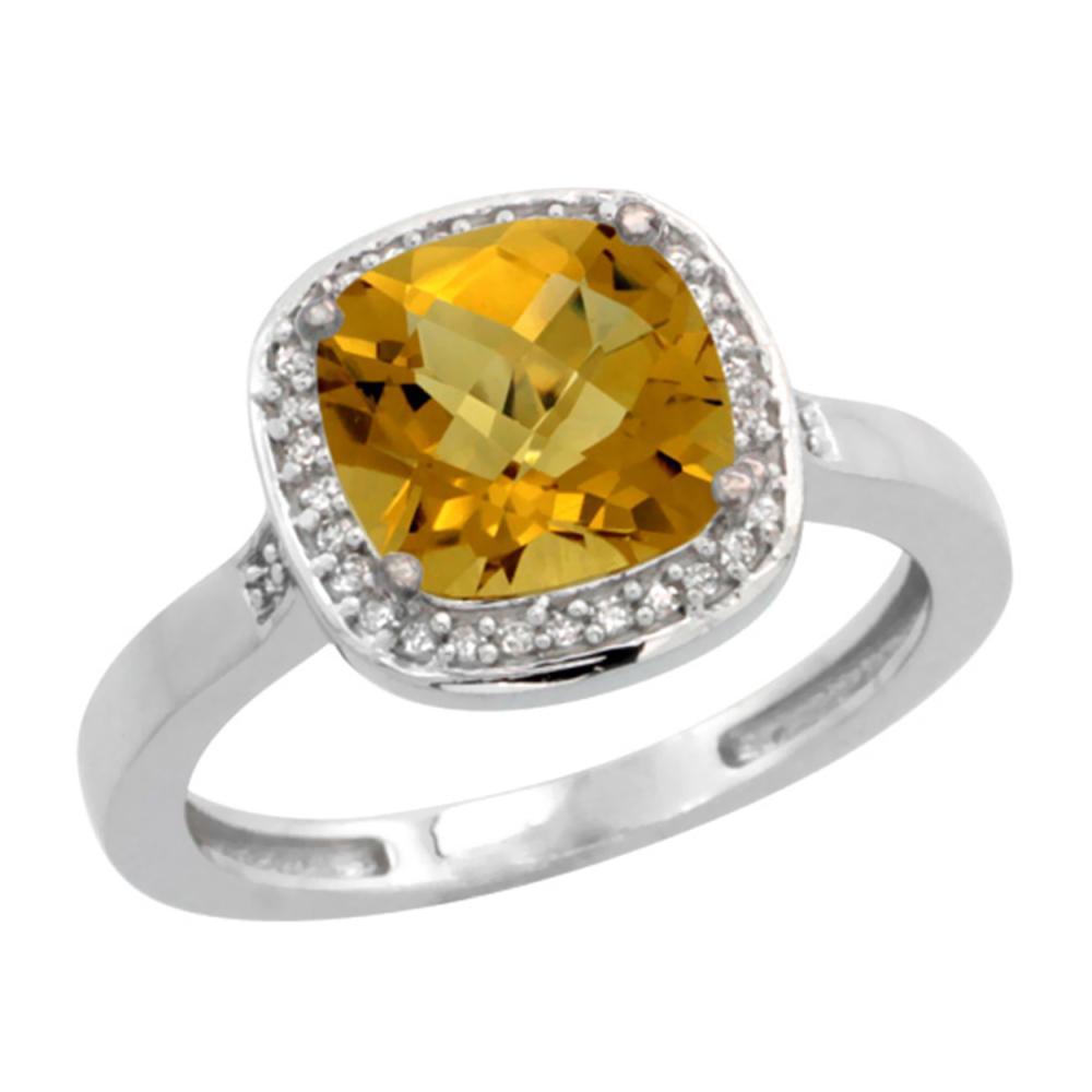 Natural 3.94 ctw Whisky-quartz & Diamond Engagement Ring 10K White Gold - REF-27A9V