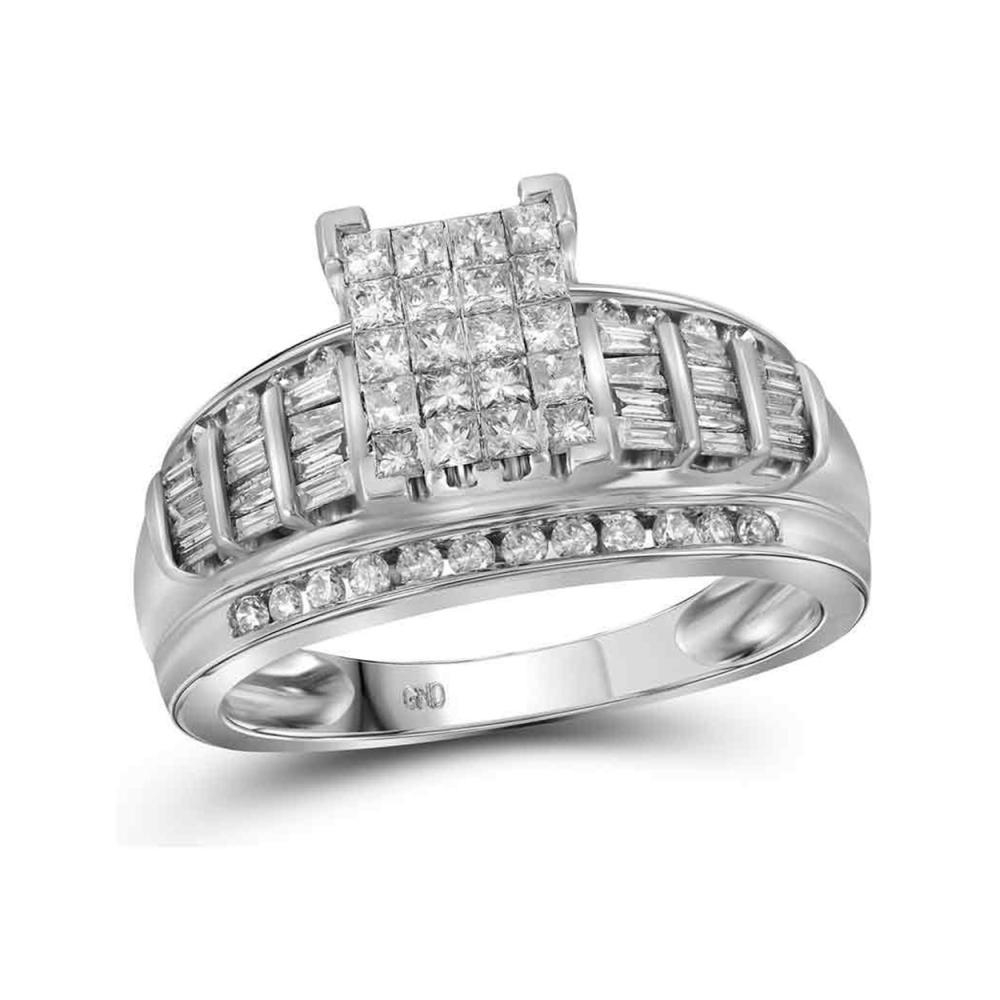 1.01 CTW Princess Diamond Cluster Bridal Engagement Ring 10KT White Gold - REF-61N5F