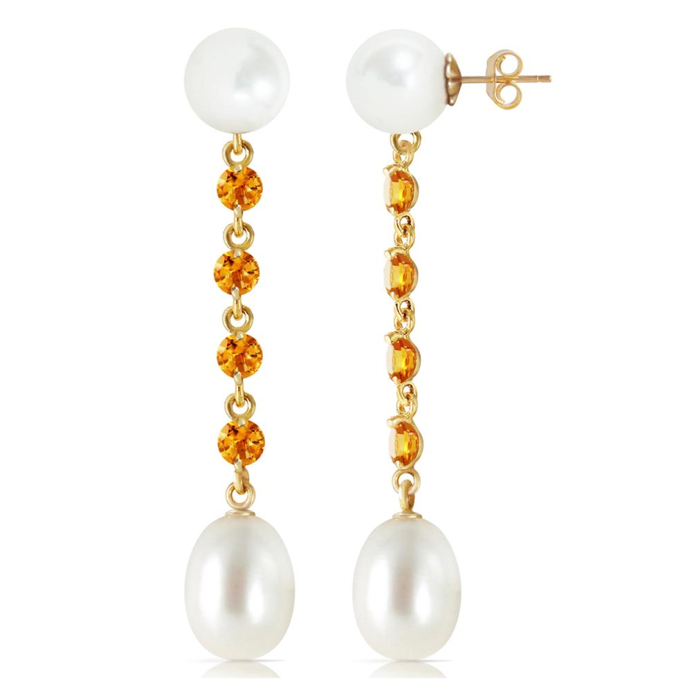 Genuine 11 ctw Pearl & Citrine Earrings Jewelry 14KT Yellow Gold - REF-28M8T
