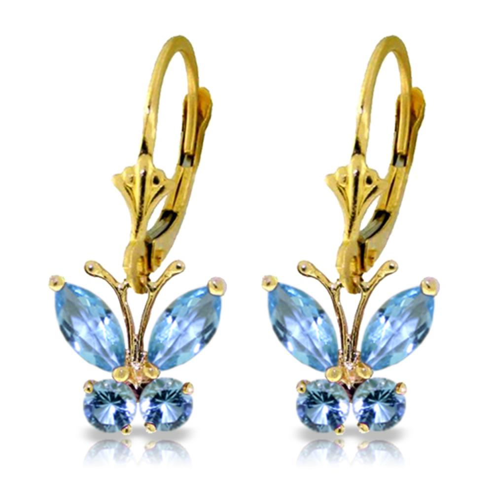 Genuine 1.24 ctw Blue Topaz Earrings Jewelry 14KT Yellow Gold - REF-38W2Y
