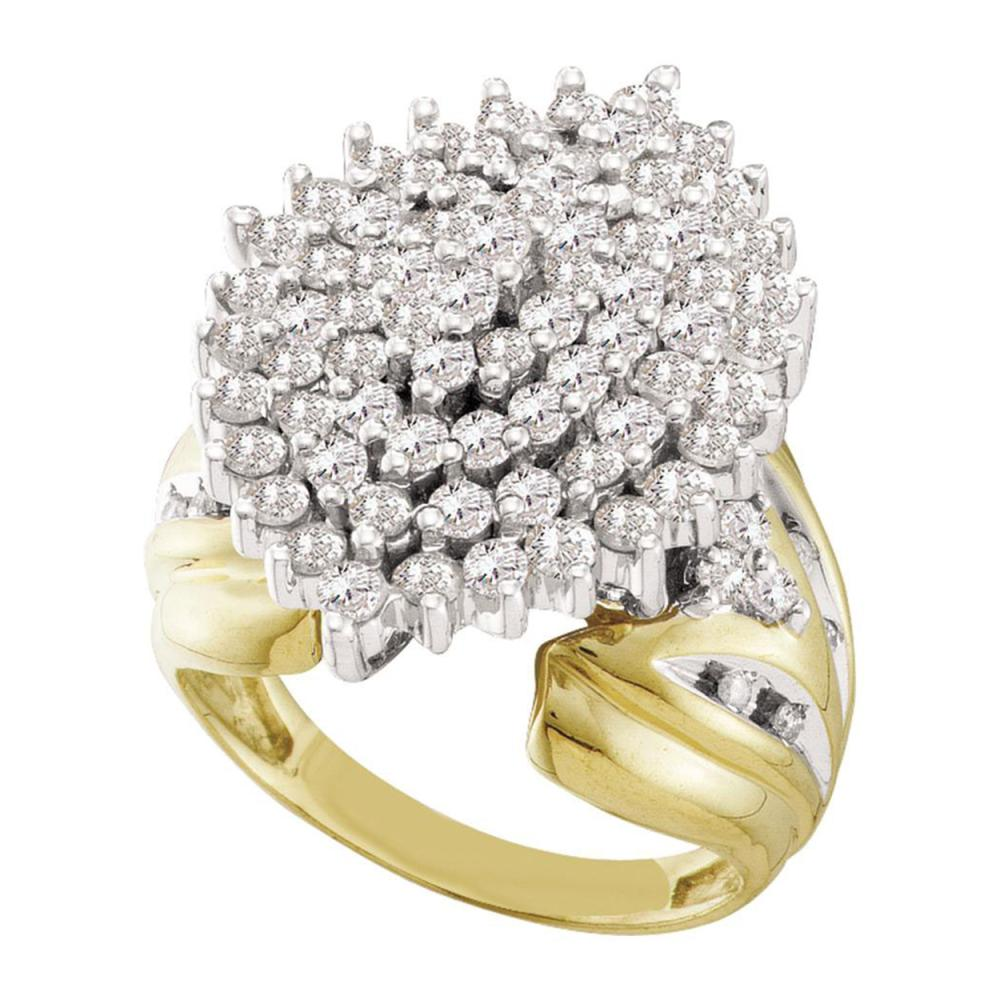 2 CTW Prong-set Diamond Large Oval Cluster Ring 10KT Yellow Gold - REF-104F9N