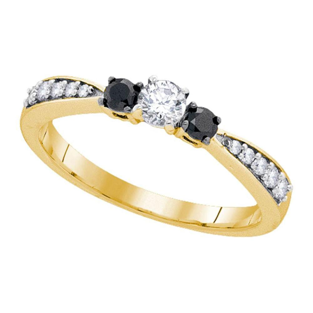0.39 CTW Diamond 3-stone Tapered Bridal Engagement Ring 10KT Yellow Gold - REF-28N4F