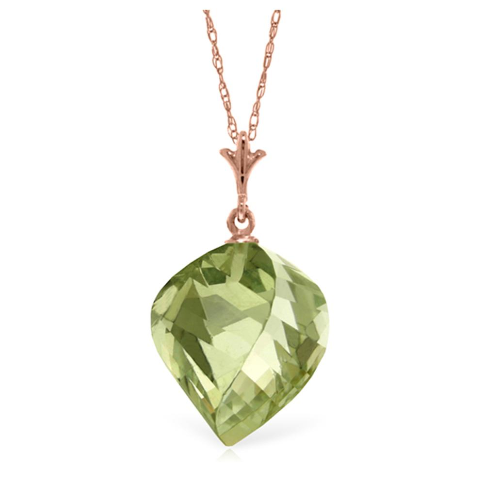 Genuine 13 ctw Green Amethyst Necklace Jewelry 14KT Rose Gold - REF-28T2A