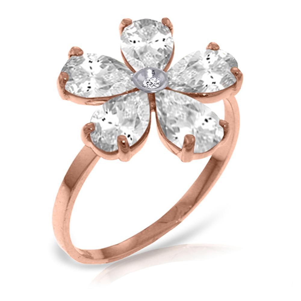 Genuine 2.22 ctw White Topaz & Diamond Ring Jewelry 14KT Rose Gold - REF-35Y9F