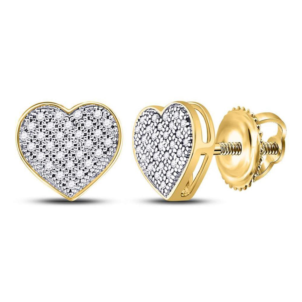 0.15 CTW Diamond Heart Screwback Earrings 10KT Yellow Gold - REF-14N9F