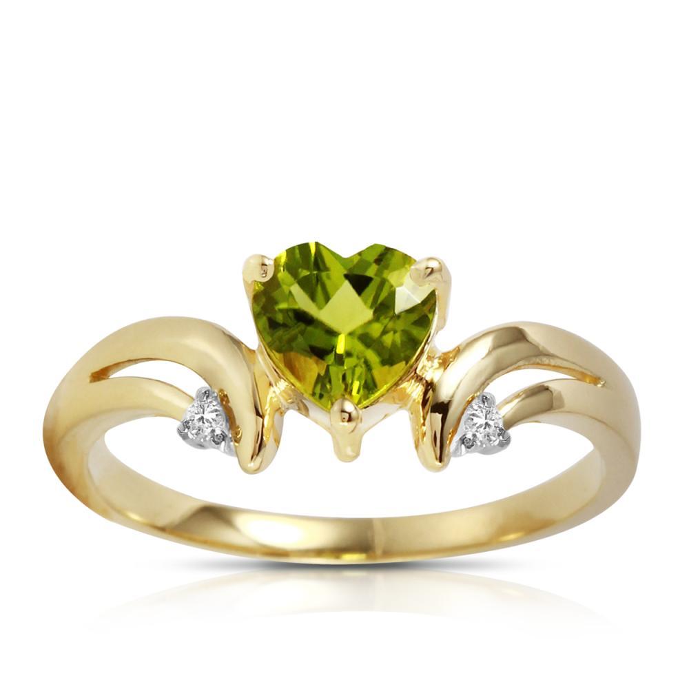 Genuine 1.26 ctw Peridot & Diamond Ring Jewelry 14KT Yellow Gold - REF-42H2X