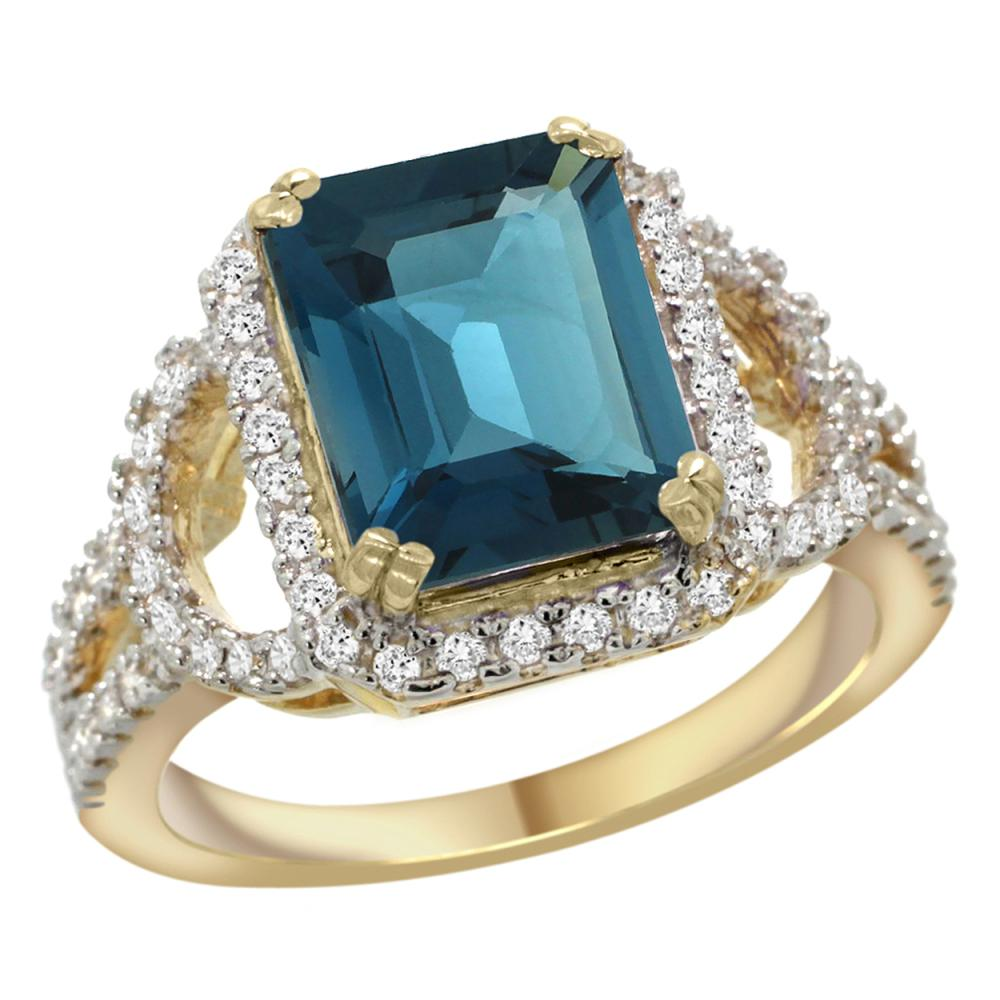 Natural 3.08 ctw london-blue-topaz & Diamond Engagement Ring 14K Yellow Gold - REF-107Y3X