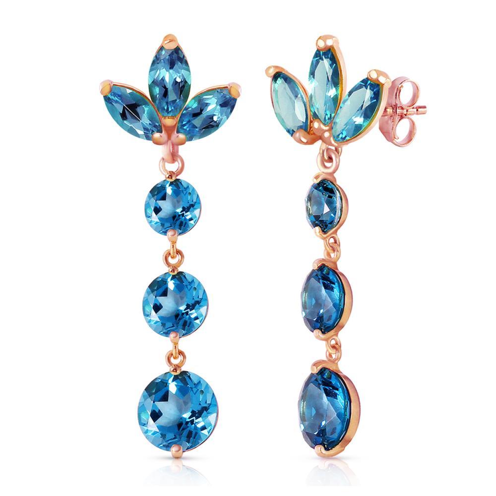 Genuine 8.7 ctw Blue Topaz Earrings Jewelry 14KT Rose Gold - REF-53T6A