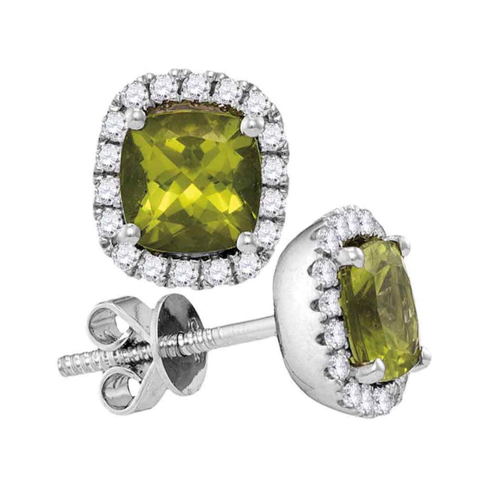 1 CTW Princess Peridot Solitaire Diamond Earrings 14KT White Gold - REF-67H4M