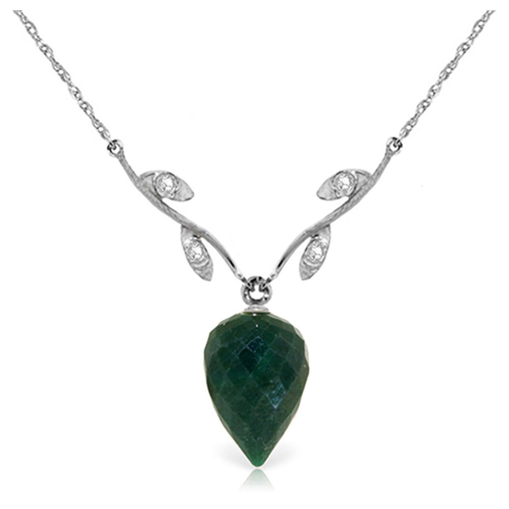 Genuine 12.92 ctw Green Sapphire Corundum & Diamond Necklace Jewelry 14KT White Gold - REF-42K2V