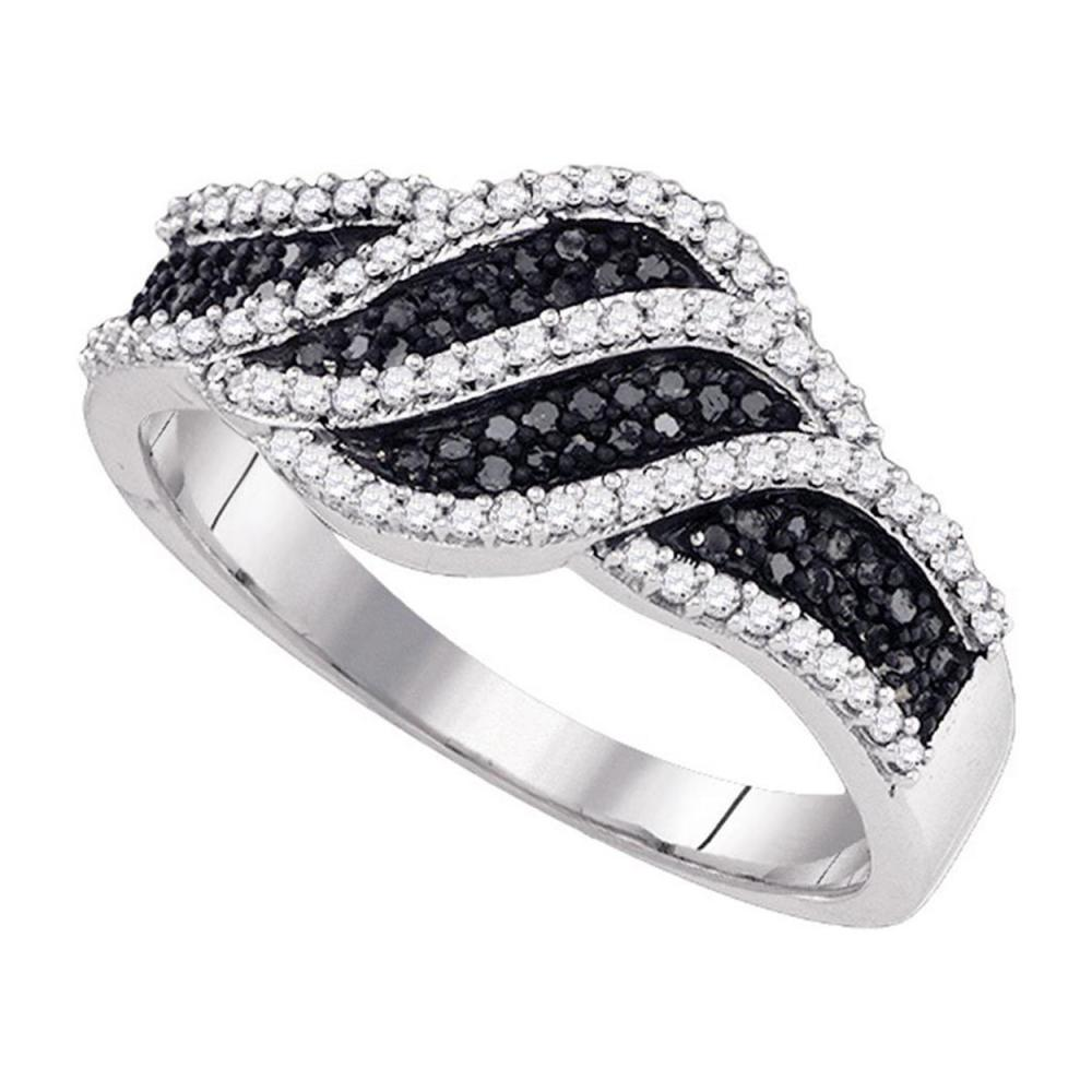 0.40 CTW Black Color Diamond Crossover Ring 10KT White Gold - REF-41N9F