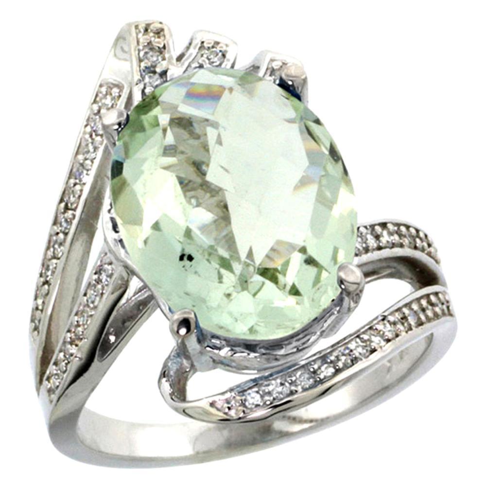 Natural 5.76 ctw green-amethyst & Diamond Engagement Ring 14K White Gold - REF-92N7G