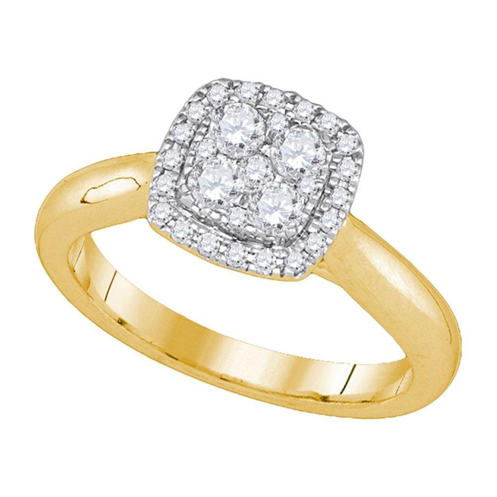 0.48 CTW Diamond Cluster Bridal Engagement Ring 14KT Yellow Gold - REF-75F2N