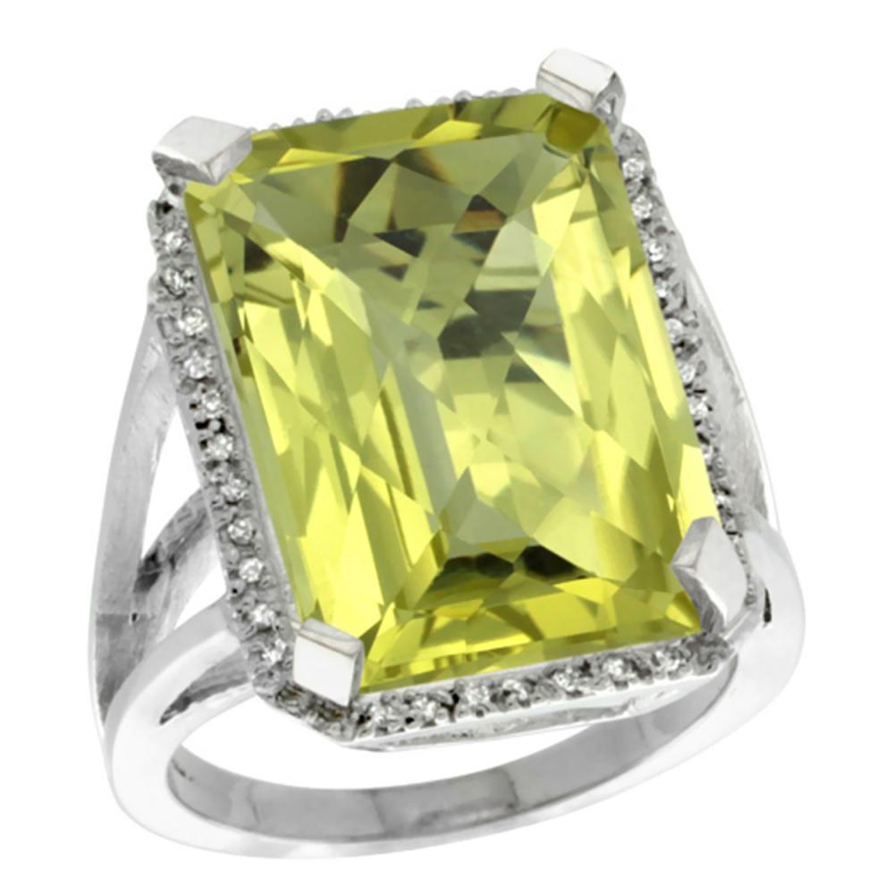 Natural 15.06 ctw Lemon-quartz & Diamond Engagement Ring 14K White Gold - REF-75X3A