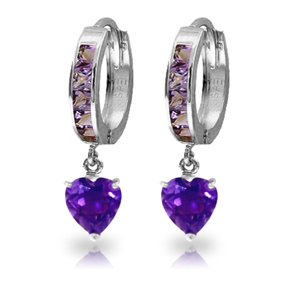 Genuine 4.1 ctw Amethyst Earrings Jewelry 14KT White Gold - REF-52F2Z
