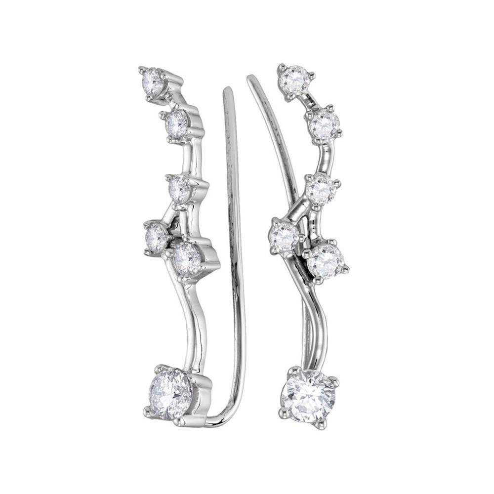 0.73 CTW Diamond Climber Earrings 10KT White Gold - REF-59H9M