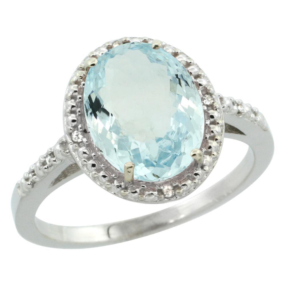 Natural 2.12 ctw Aquamarine & Diamond Engagement Ring 10K White Gold - REF-35Z4Y