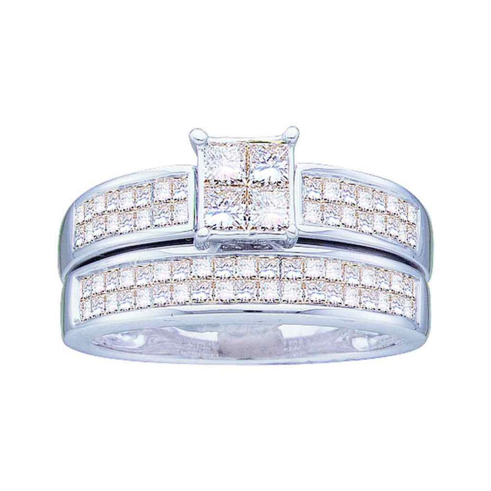 0.65 CTW Princess Diamond Bridal Engagement Ring 14KT White Gold - REF-134X9Y