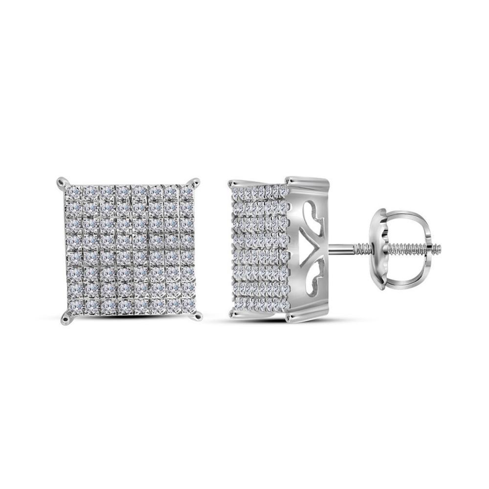 0.98 CTW Diamond Square Cluster Stud Earrings 10KT White Gold - REF-67W4K