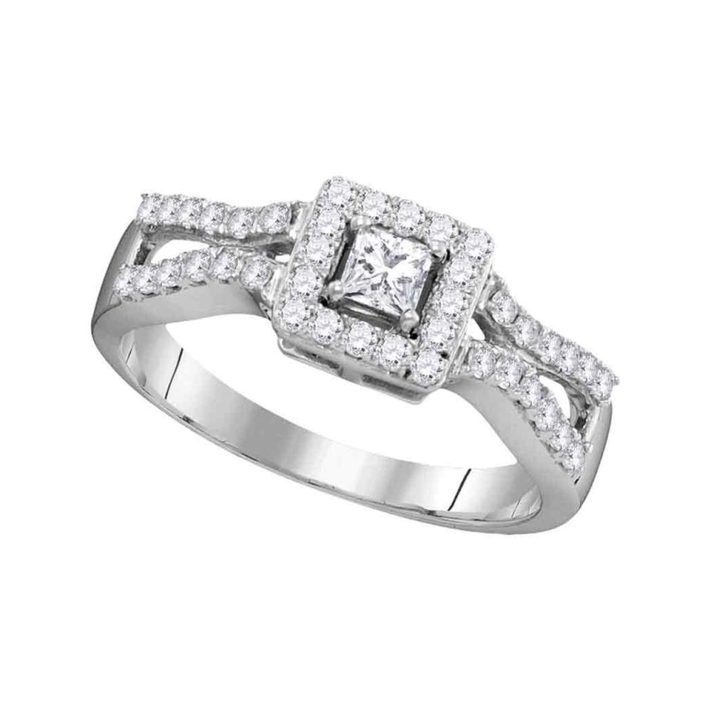 0.50 CTW Princess Diamond Bridal Engagement Ring 10KT White Gold - REF-52M4H