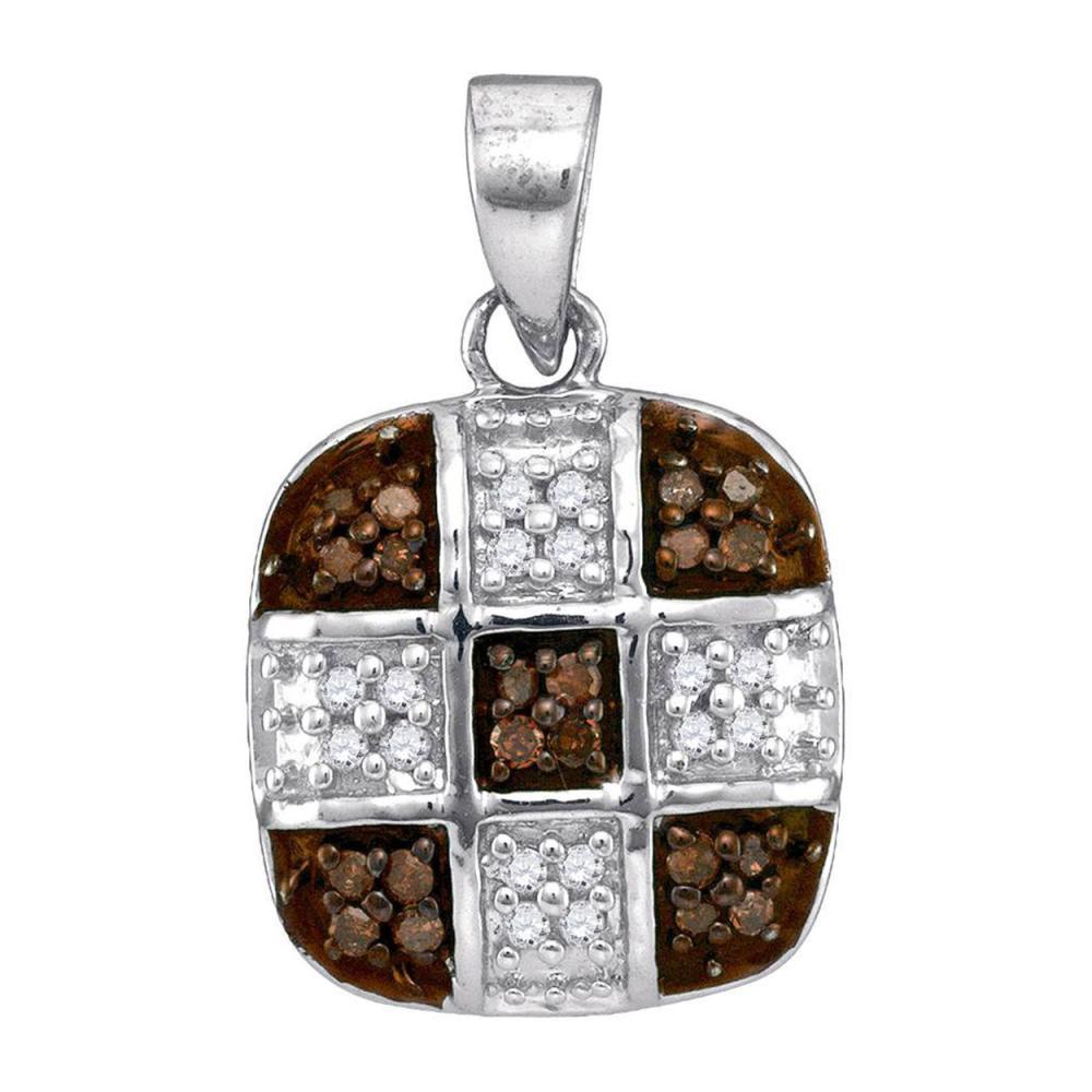0.20 CTW Cognac-brown Color Diamond Square Cross Pendant 10KT White Gold - REF-13M4H