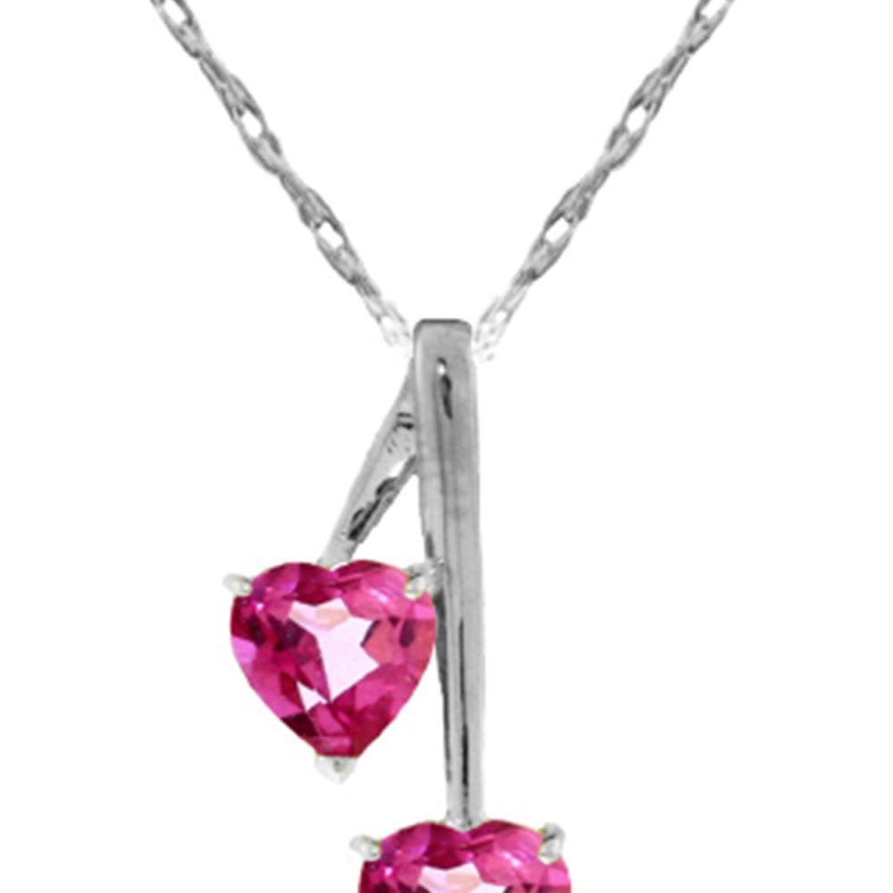 Genuine 1.40 ctw Pink Topaz Necklace Jewelry 14KT White Gold - REF-24W3Y