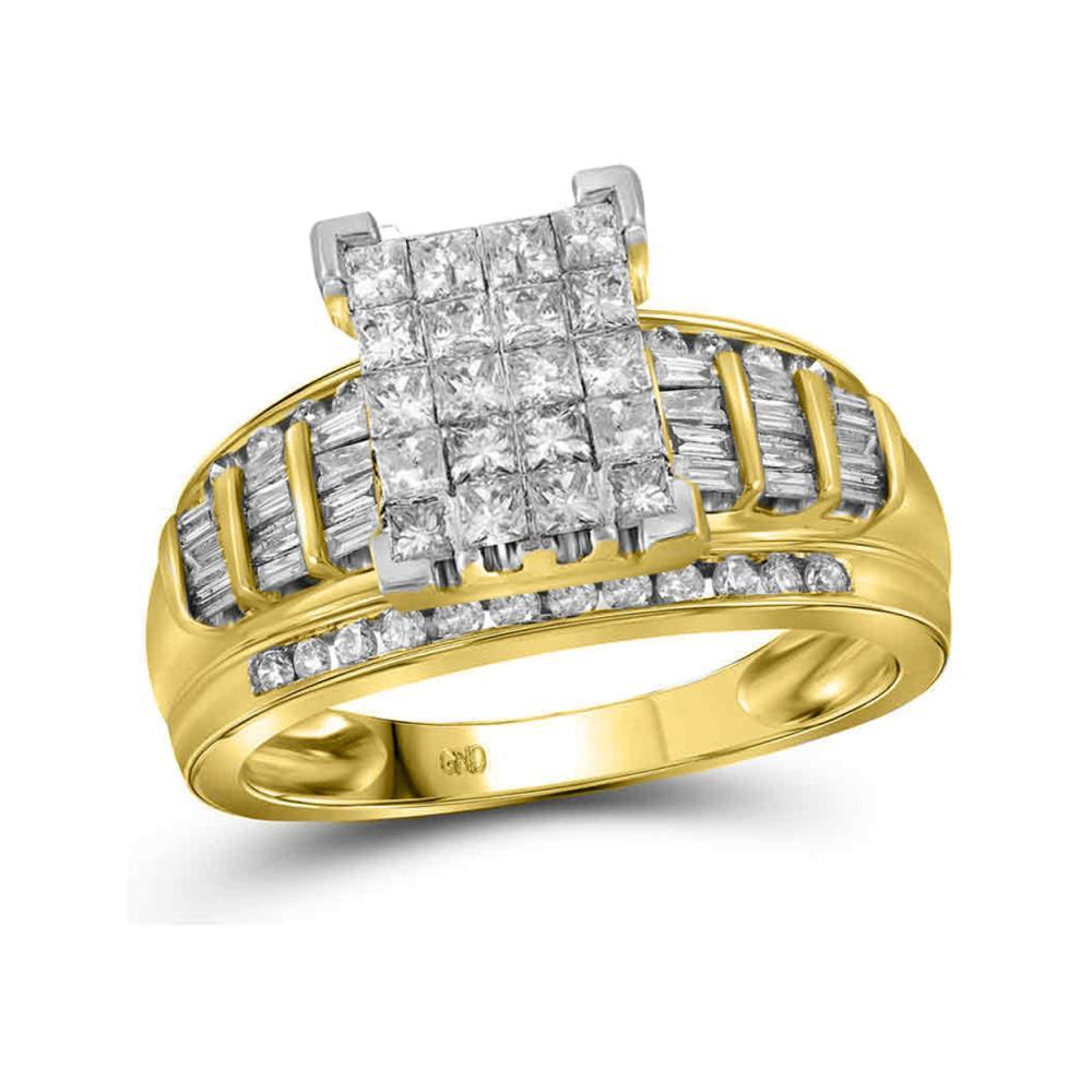 2 CTW Princess Diamond Cluster Bridal Engagement Ring 10KT Yellow Gold - REF-124K4W