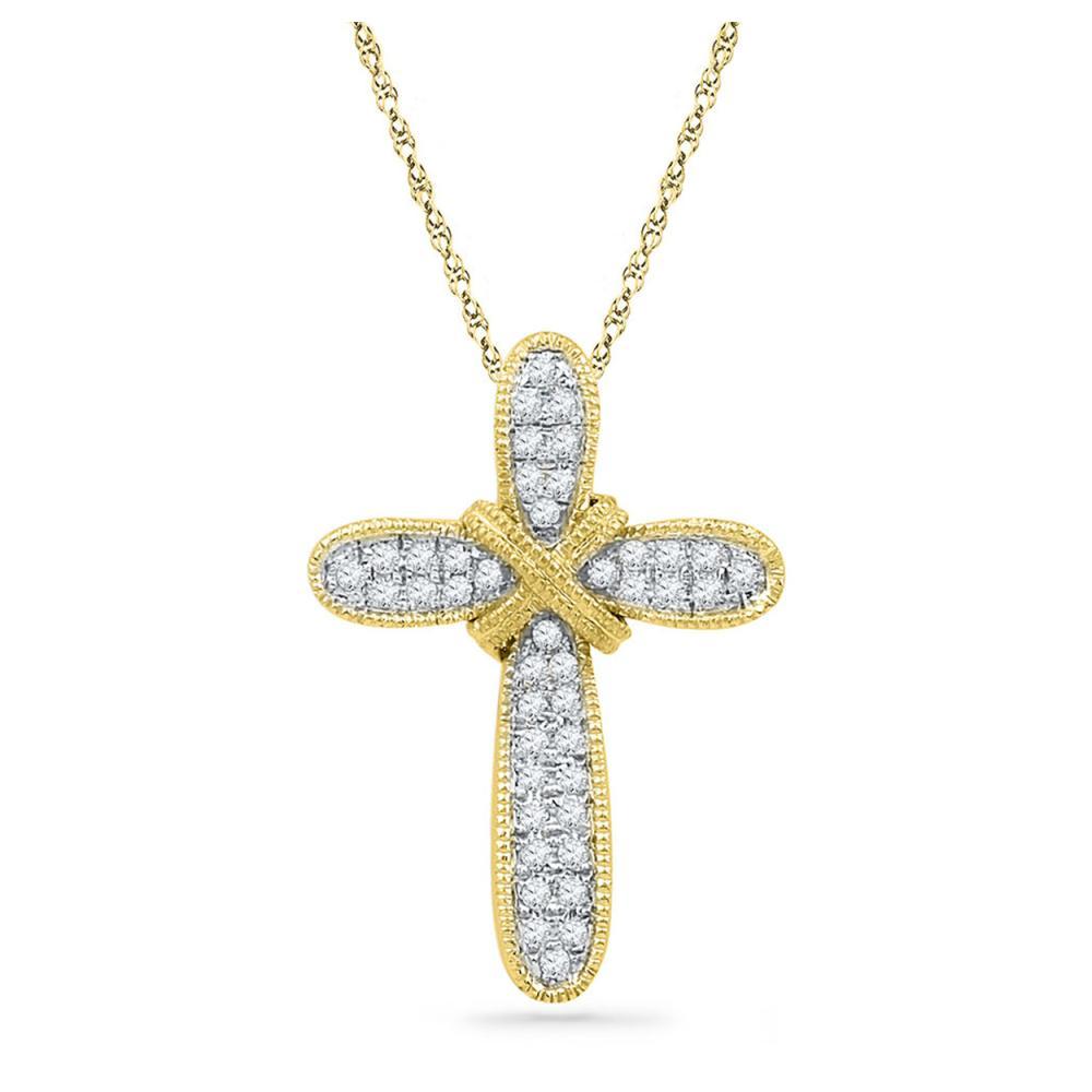 0.12 CTW Diamond Bound Cross Pendant 10KT Yellow Gold - REF-12N2F