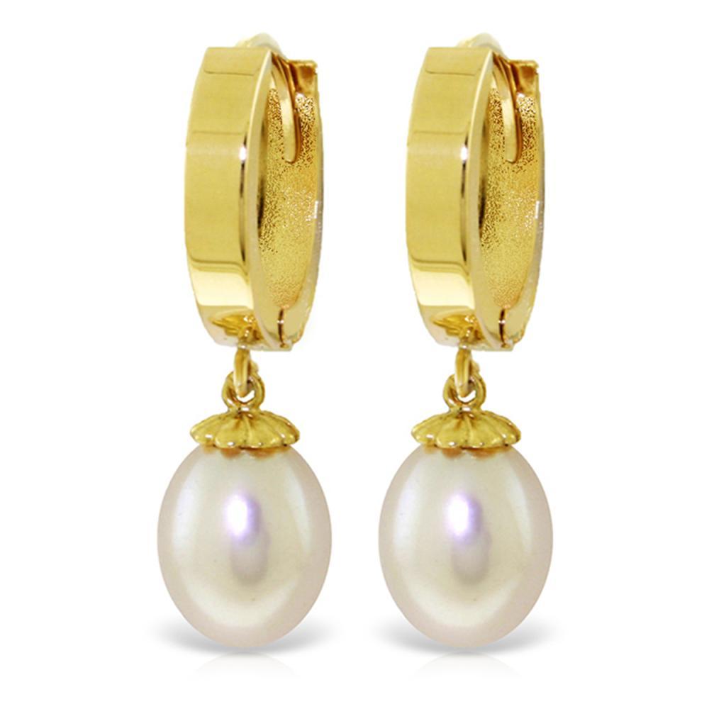 Genuine 8 ctw Pearl Earrings Jewelry 14KT Yellow Gold - REF-42N2R