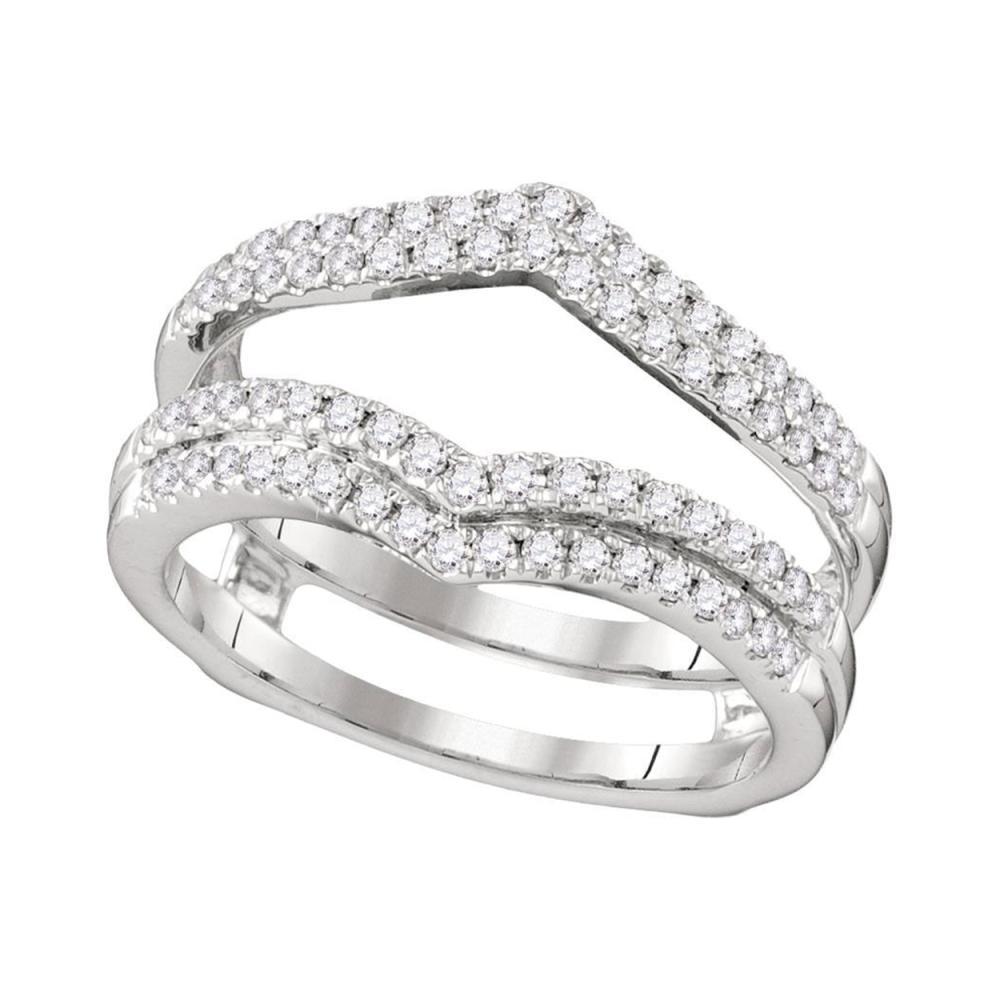 0.51 CTW Diamond Chevron Wrap Ring 14KT White Gold - REF-75N2F