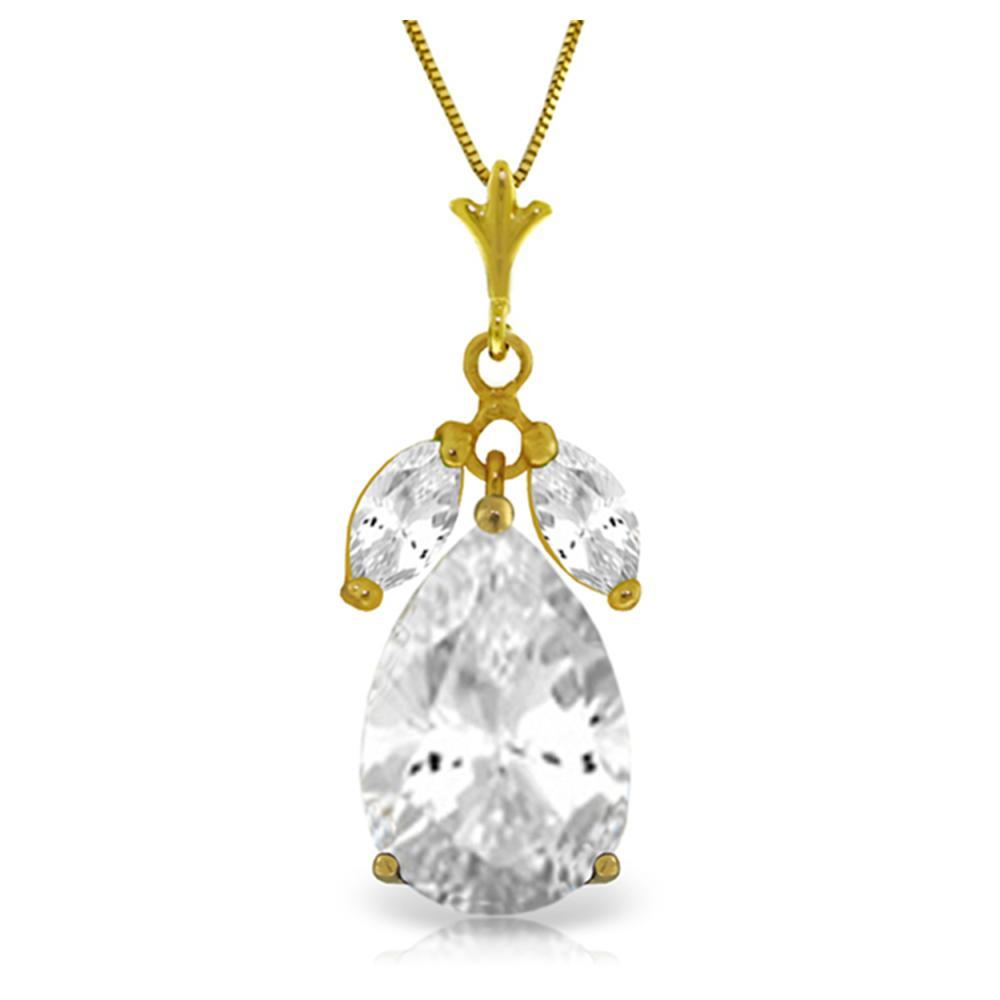 Genuine 6.5 ctw White Topaz Necklace Jewelry 14KT Yellow Gold - REF-38W2Y
