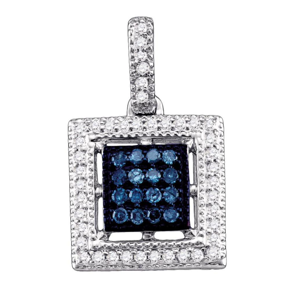0.20 CTW Blue Color Diamond Square Cluster Pendant 10KT White Gold - REF-18N2F