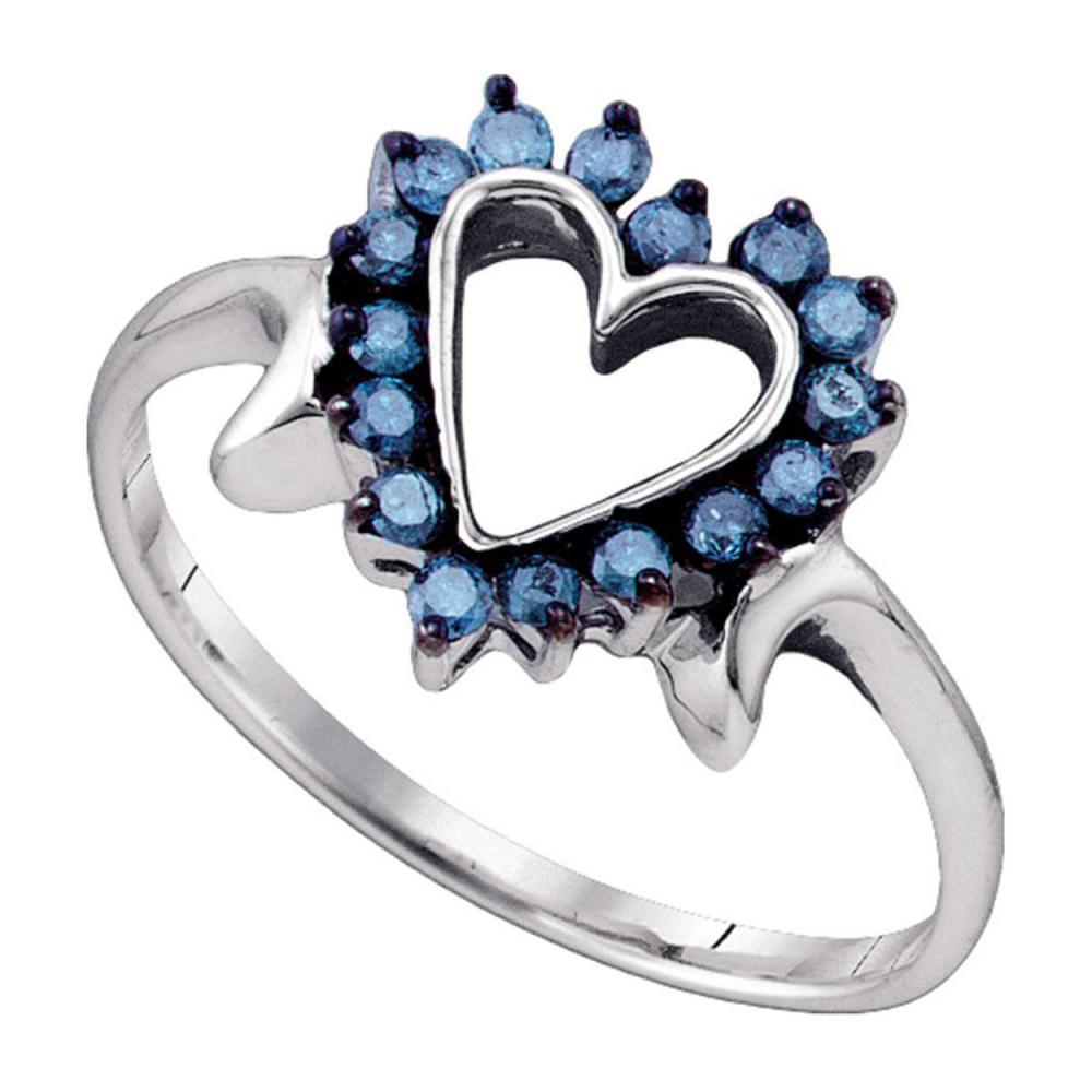 0.25 CTW Blue Color Diamond Heart Love Ring 10KT White Gold - REF-18N2F