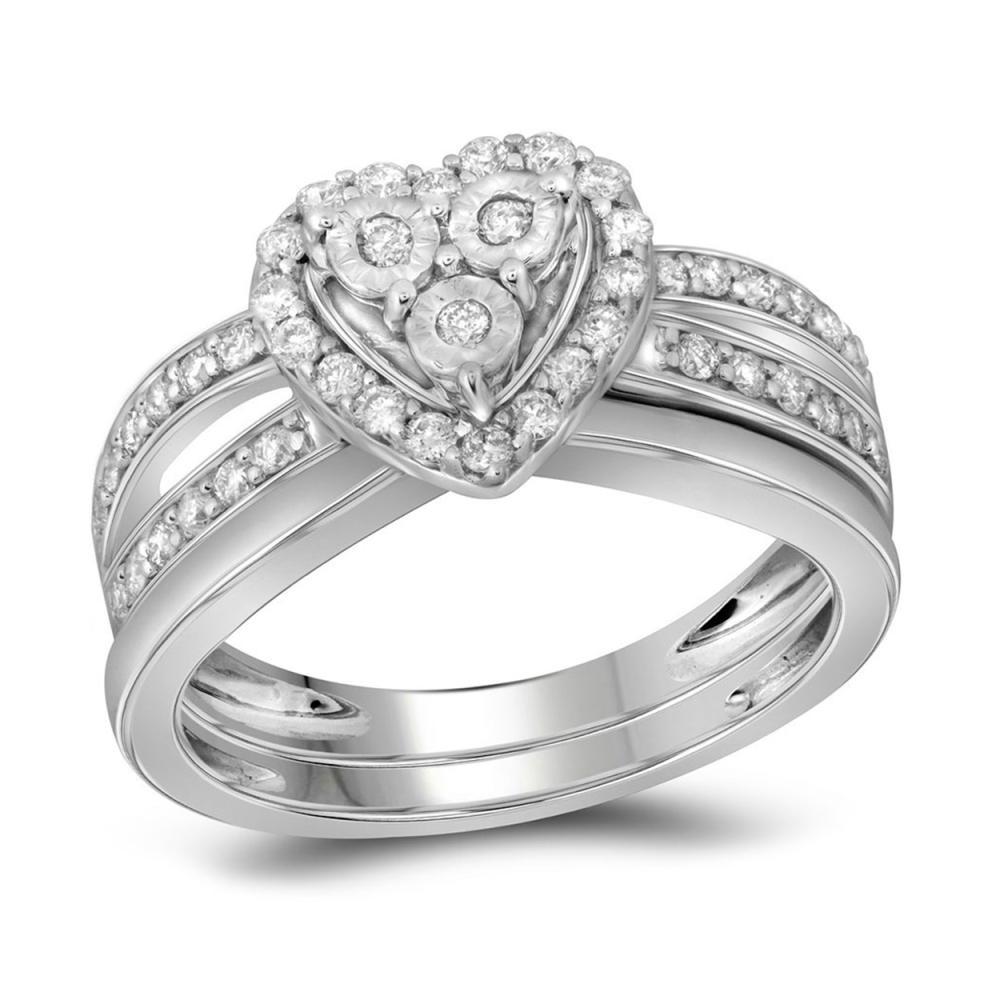 0.75 CTW Diamond Heart Bridal Engagement Ring 10KT White Gold - REF-71H3M