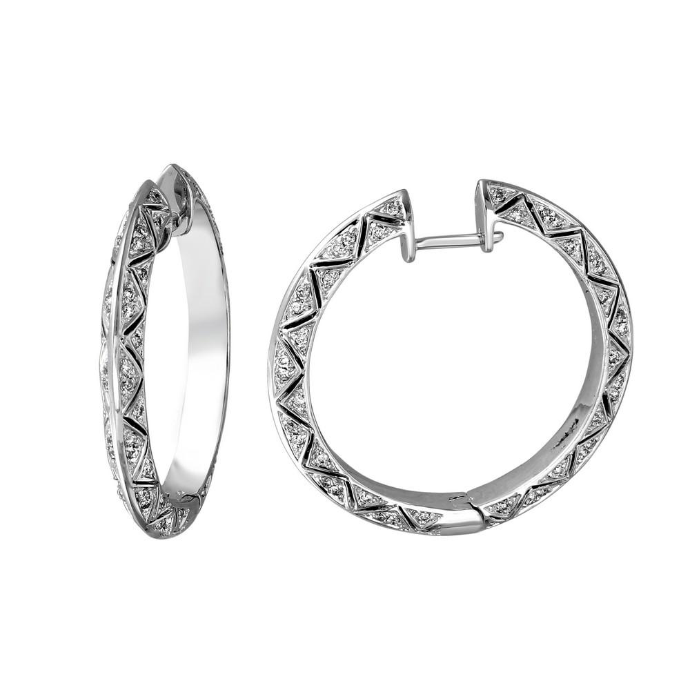 Natural 0.83 CTW Diamond Earrings 14K White Gold - REF-110N5Y