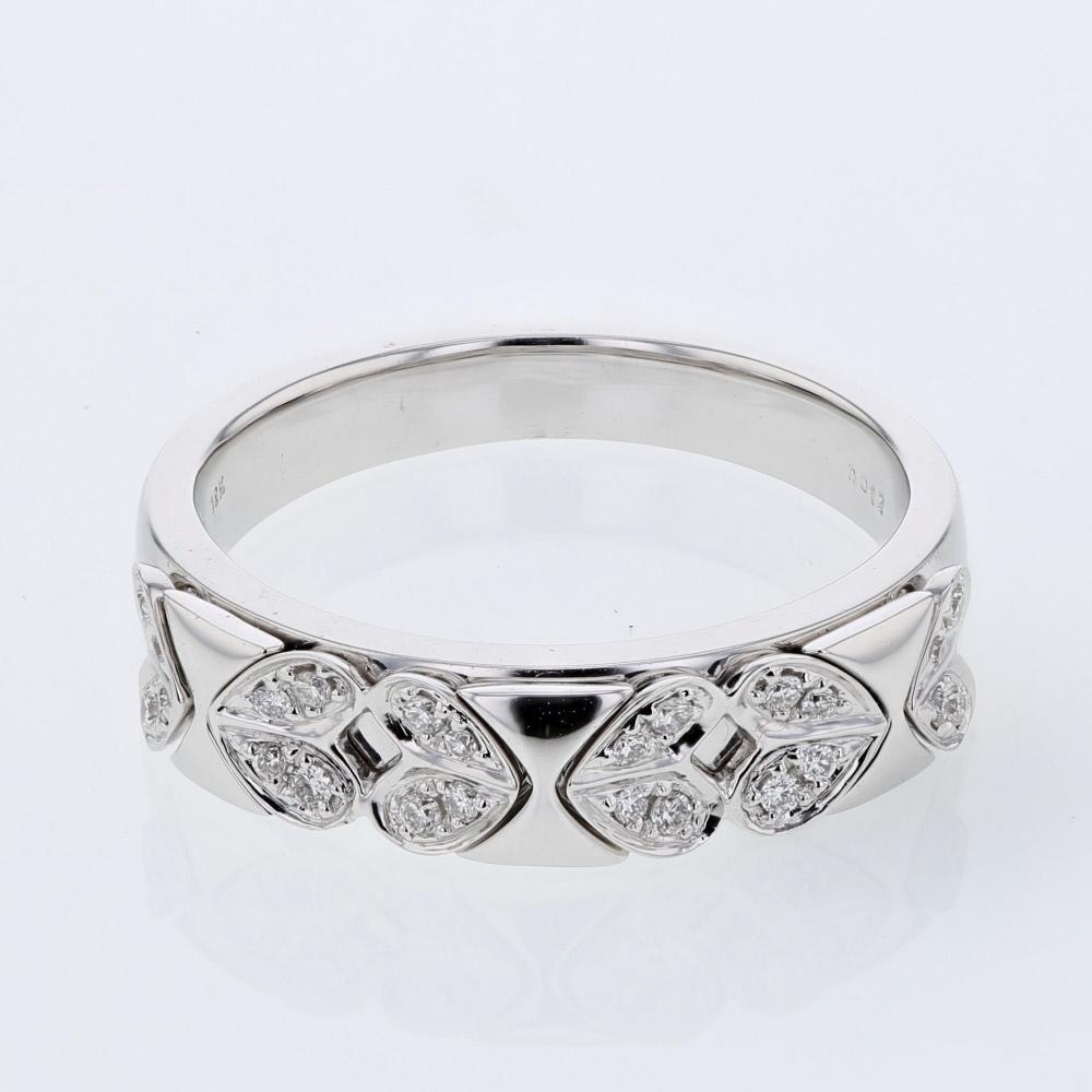 Natural 0.12 CTW Diamond Band Ring 18K White Gold - REF-48W4H