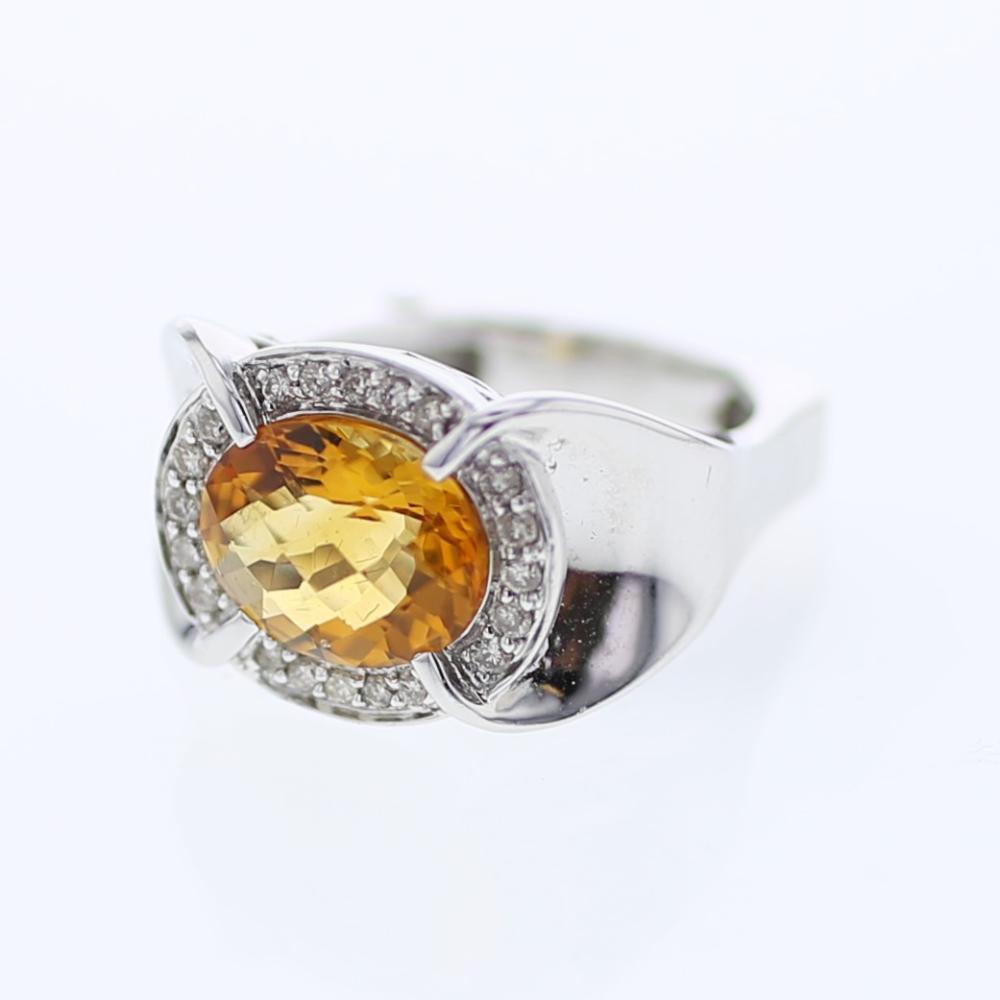 Natural 3.32 CTW Citrine & Diamond Ring 14K White Gold - REF-64Y3X