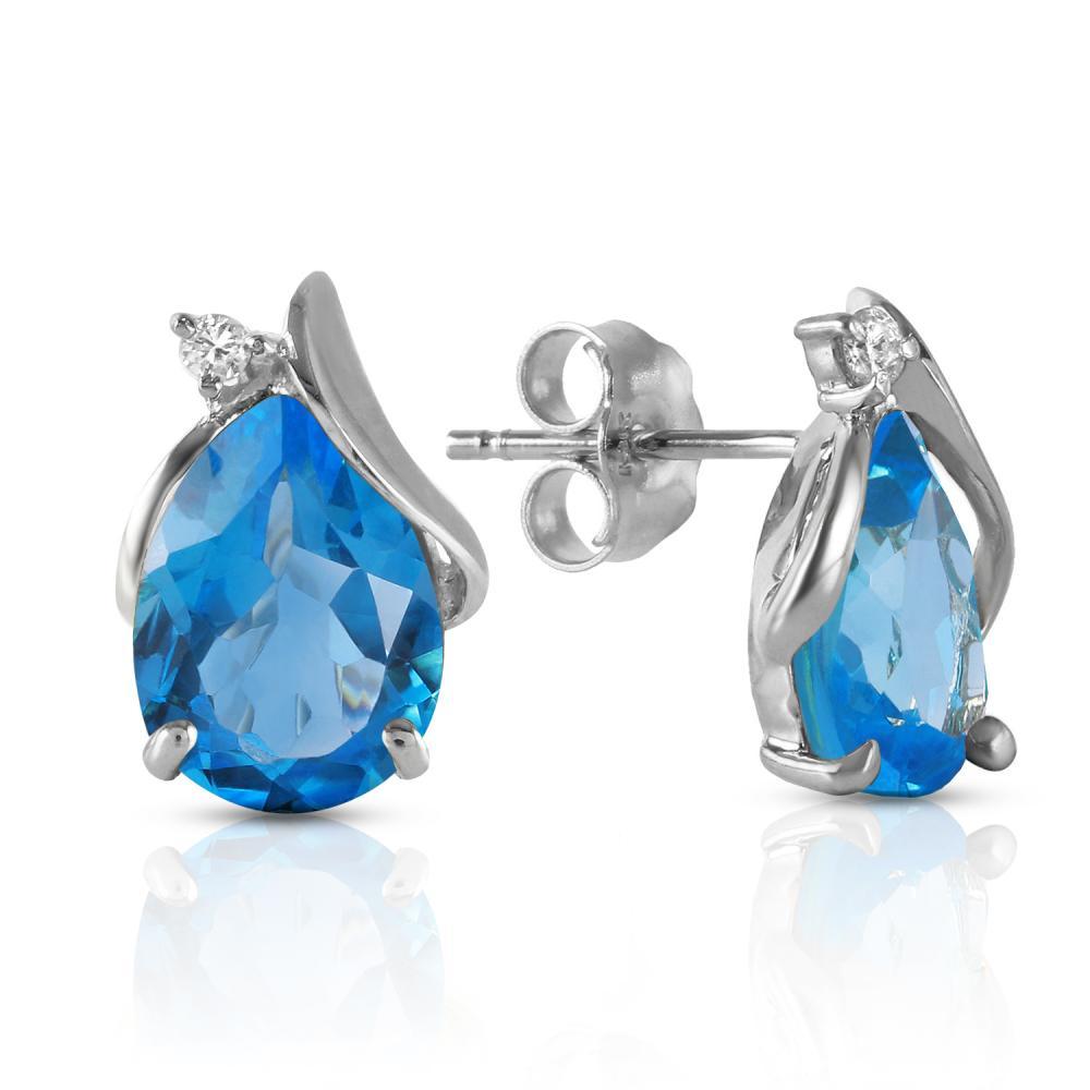 Genuine 5.06 ctw Blue Topaz & Diamond Earrings Jewelry 14KT White Gold - REF-46T7A