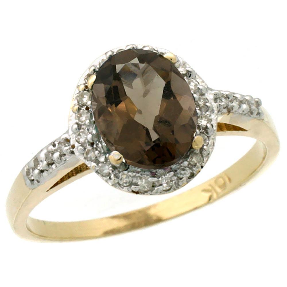 Natural 1.3 ctw Smoky-topaz & Diamond Engagement Ring 14K Yellow Gold - REF-32F2N