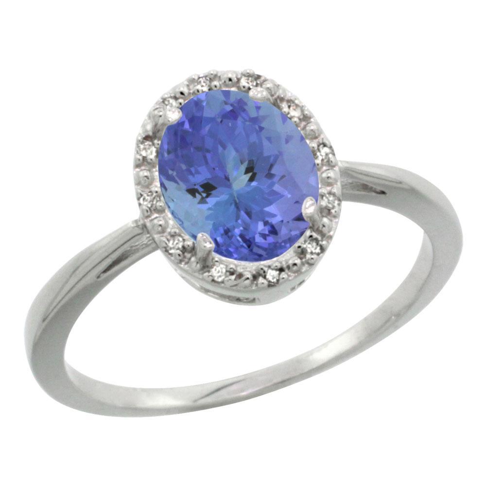 Natural 1.35 ctw Tanzanite & Diamond Engagement Ring 14K White Gold - REF-49M8H